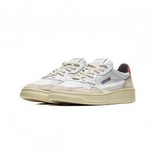 Autry 01 Laag Leder/Suede Wit/rood Sneakers